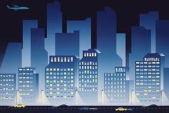 Blue night city background. Creative blue cartoon city background at night. 3D Rendering Stock Photo