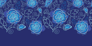 Blue night flowers horizontal seamless pattern. Vector blue night flowers horizontal seamless pattern background border on dark blue Stock Photo