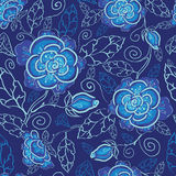 Blue night flowers seamless pattern background. Vector blue night flowers seamless pattern background on dark blue Royalty Free Stock Photos