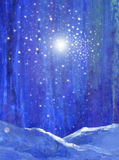 Blue night forest with snow light and stars original art. Watercolor gouache digital Stock Images