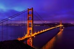 Blue night at Golden Gate Bridge and San Francisco Stock Image