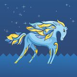 Blue Night Horse Illustration. Cute cartoon sketch style ornamentsl vector character on dark blue background Royalty Free Stock Photography
