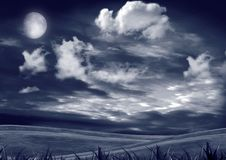 Blue night with moon Royalty Free Stock Photos