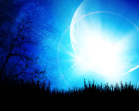 Blue night with moon. Background Royalty Free Stock Image