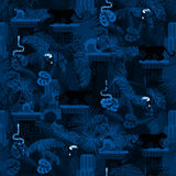 Blue night rainforest wild animals and plants seamless pattern. Royalty Free Stock Photos