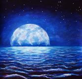Blue night sea oil painting - dark tree on background large glowing moon reflected in sea waves - fantasy art illustration. Oil painting large glowing moon stock images