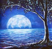 Blue night sea oil painting - dark tree on background large glowing moon reflected in sea waves - fantasy art illustration. Blue night sky sea oil painting Stock Photos