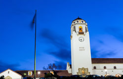 Blue night sky and Boise Train Depot Stock Images