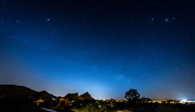 Blue Night Sky. With Neighborhood Silhouette Royalty Free Stock Photography