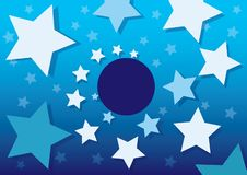 Blue Night Sky with pattern White Stars and Dots. Vector illustration stock illustration