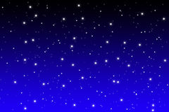 Blue night sky with shiny stars. Simple designed starfield background on blue and black night sky Stock Photo