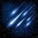 Blue night sky with shooting stars Stock Image