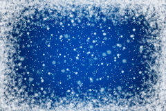 Blue Night Sky with Stars and Snow Background Stock Photo