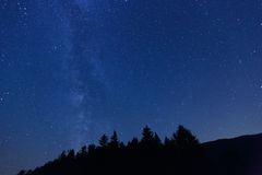 Blue night sky with stars and visible Milky way Royalty Free Stock Images