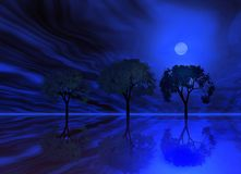 Blue night . Trees royalty free illustration