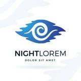 Blue night vector design element. Modern wave shape symbol logo concept.  Royalty Free Stock Photo
