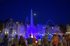 Blue night water fountain Stock Photo