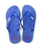 Blue Nike flip flops isolated on a white background Stock Photos