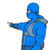 Blue ninja draw Stock Photography