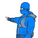 Blue ninja draw Stock Photography