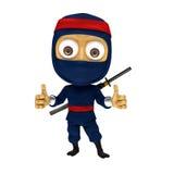 Blue ninja pose thum up. 3d render illustration cartoon ninja great pose royalty free illustration