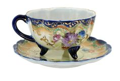 Blue Nippon Hand Painted Teacup Stock Images