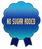 Blue NO SUGAR ADDED ribbon badge. Illustration graphic design concept image Stock Images