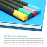 Blue note book, dairy book with colors marker pens isolated Stock Photos