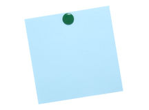 Blue note with green pin Stock Images