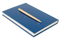Blue notebook with a gold pen isolated on white background. Stock Image