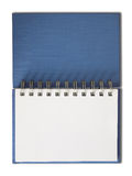 Blue Notebook horizontal single blank page. Isolated Royalty Free Stock Photo