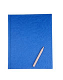 Blue notebook with pencil isolated Stock Photo