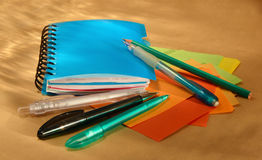Blue Notebook and pens Stock Image