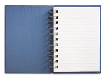 Blue Notebook vertical single white page. Isolated Royalty Free Stock Photo