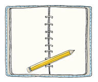 Blue notebook and Yellow pencil vintage cute hand drawn Royalty Free Stock Photos