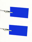 Blue notice-card on clip. Two blue notice-cards on metal-clip stock photos