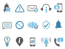 Blue notification and information icons set Stock Photo