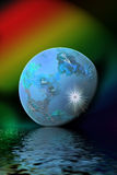 Blue nuclear planet royalty free stock image