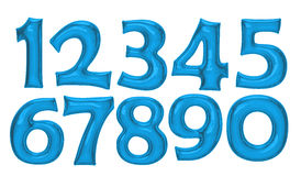 Blue number foil balloon set with clipping path Stock Photos