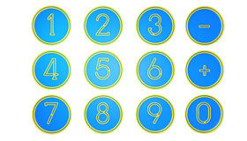 Blue Number icons Stock Photo