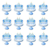Blue Numbered Birthday Cakes Royalty Free Stock Image