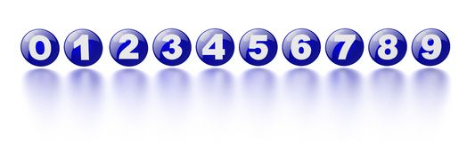 Blue numbers 0-9 Stock Photo