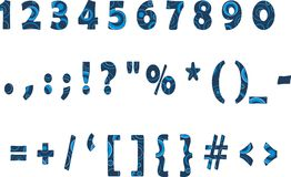 Blue numbers. Punctuation and secondary characters in addition to the Latin alphabet Royalty Free Stock Photos