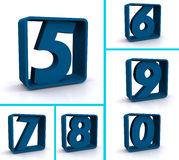 Blue numbers in blue boxes Stock Photos