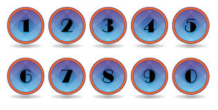 Blue numbers icons Royalty Free Stock Images