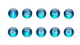 Blue Numbers Icons Set [01]. A Glossy Blue Icons Numbers Set vector illustration
