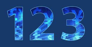 Blue  numbers with random texture Royalty Free Stock Photos
