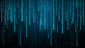 Blue numbers stream. Cyberspace with falling digital lines. Abstract matrix background Vector illustration royalty free illustration