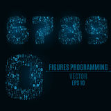 The blue numbers of the symbols and the programming elements. Numbers 6, 7, 8, 9, 0. Light glow. Binary code. Vector illustration. The blue numbers of the Royalty Free Stock Images