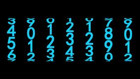 Blue numerals of the counter. On black background, 3d animation, seamless loop vector illustration